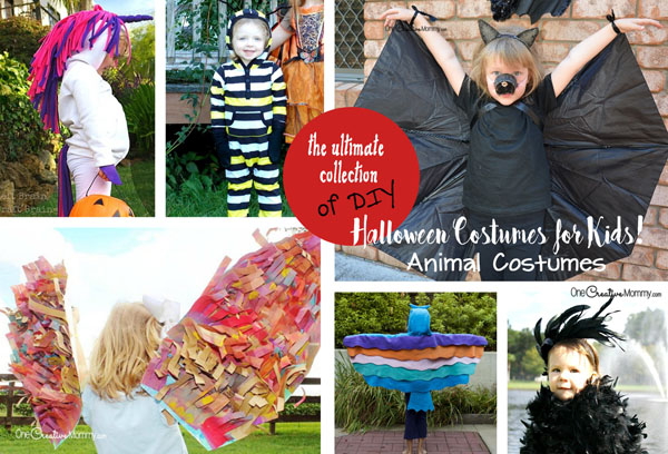 I love these fun DIY animal costumes for Halloween! {OneCreativeMommy.com} Kids Costume Ideas