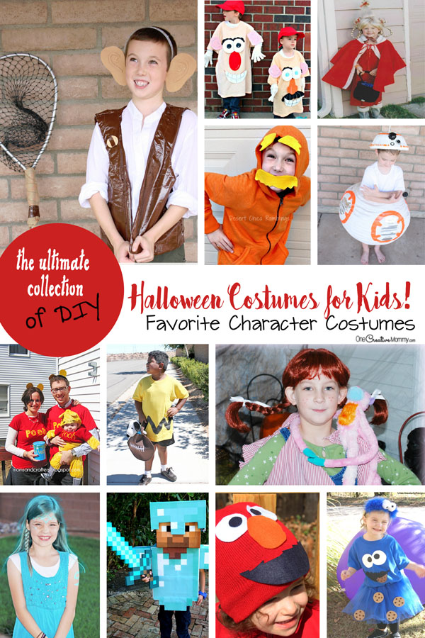 Kids want to dress up like their favorite character for Halloween? Check out these awesome DIY movie, TV and book costumes. {OneCreativeMommy.com}