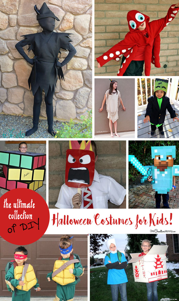 Love this collection of DIY Halloween costumes for kids! Best ideas ever. {OneCreativeMommy.com}