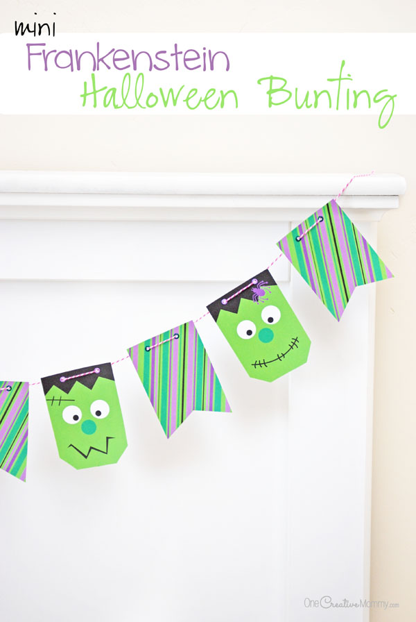 Yikes! These mini Frankenstein Halloween pennants are so much fun! {OneCreativeMommy.com} Printable Halloween Bunting