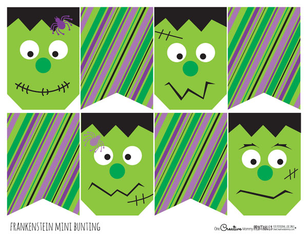 Frankenstein Halloween Bunting -- So much fun! {OneCreativeMommy.com ...