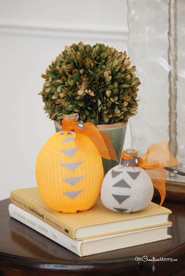You'll never guess what these adorable pumpkins are made of! {OneCreativeMommy.com}