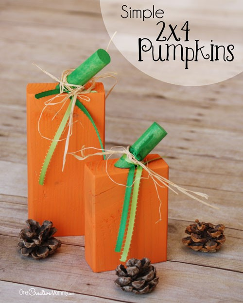Super Simple 2x4 Pumpkins - Easy enough for kids! Fall craft idea {OneCreativeMommy.com}