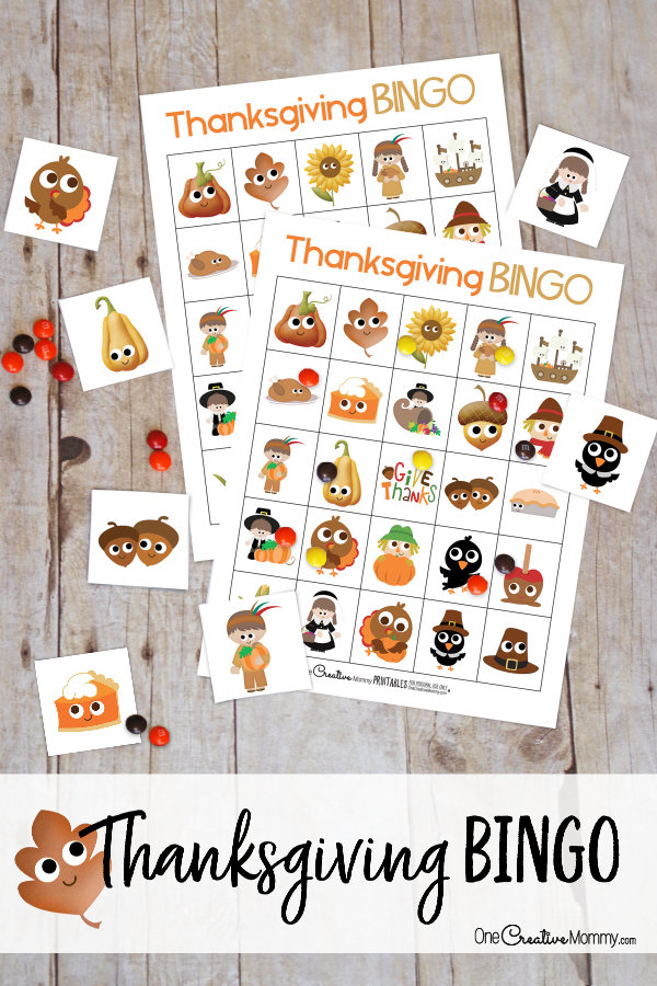What a great way to keep the kids busy while they wait for Thanksgiving dinner! I love Bingo! {OneCreativeMommy.com} Free Printable Thanksgiving Bingo Boards #thanksgiving #bingo #printablebingo #thanksgivinggames
