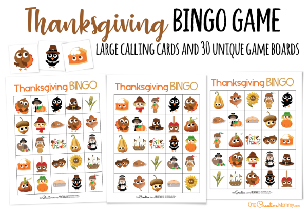 What a great way to keep the kids busy while they wait for Thanksgiving dinner! I love Bingo! {OneCreativeMommy.com} Printable Thanksgiving Bingo Boards #thanksgiving #bingo #printablebingo #thanksgivinggames