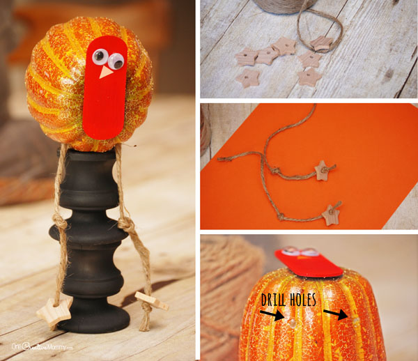 Thanksgiving Turkey Craft -- Creating the legs and feet