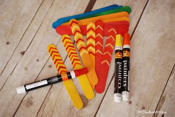 Thanksgiving Turkey Craft -- Craft Stick Feathers