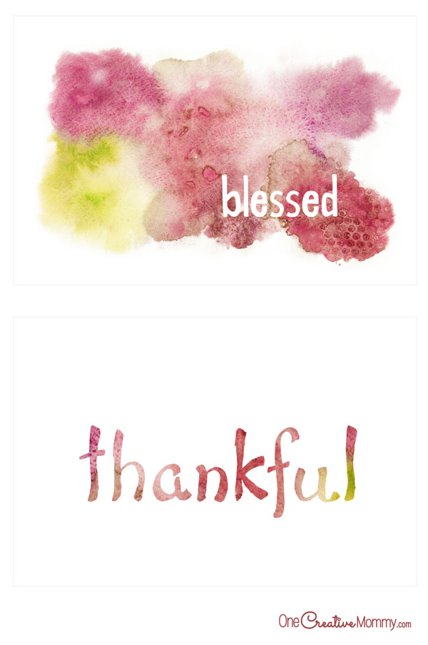 Simple watercolor Thanksgiving printables | Thankful & Blessed {OneCreativeMommy.com}