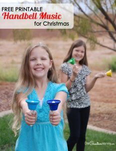 Our newest Christmas tradition--Christmas handbells! Download printable music for 5 popular carols to start your own family tradition today. {OneCreativeMommy.com}