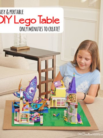 The surprisingly simple way to turn any surface into a Lego table in minutes! {OneCreativeMommy.com} DIY Lego Table