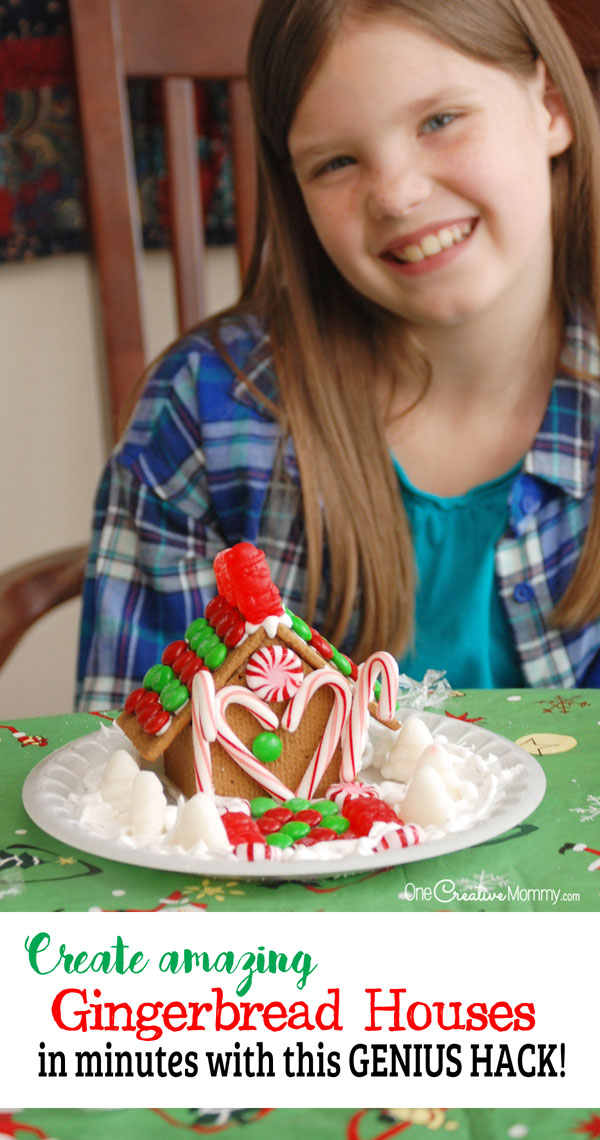Genius hacks to create a gingerbread house in minutes! Why didn't I do this years ago? {OneCreativeMommy.com}