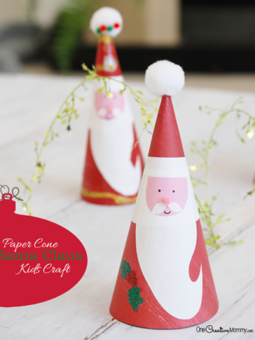 Christmas Kids Crafts: Paper Cone Santa Claus! {OneCreativeMommy.com} Free Printable to make it even easier!