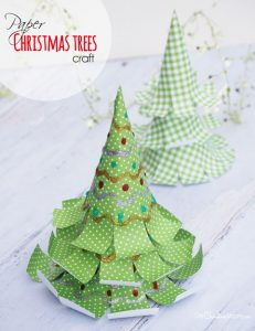 Amazing Paper Christmas Tree Crafts! {OneCreativeMommy.com} These are so perfect to make with the kids over Christmas break! #sponsored