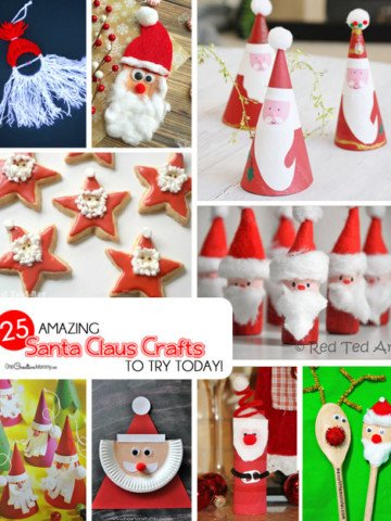 25 Amazing Santa Claus Christmas Crafts to make with your kids today! {OneCreativeMommy.com} These are all so cute. I can't decide where to start!
