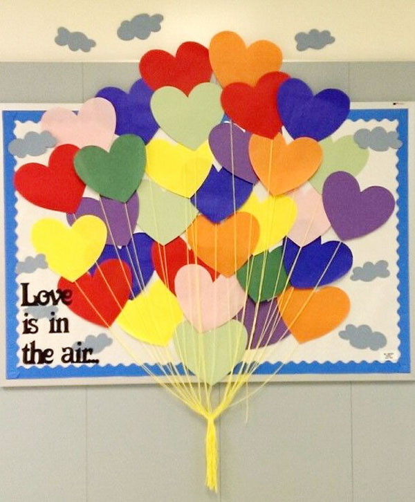 Love is in the Air Classroom Door - Featured in 27 Valentine's Day Classroom Door Decorating Ideas {OneCreativeMommy.com}