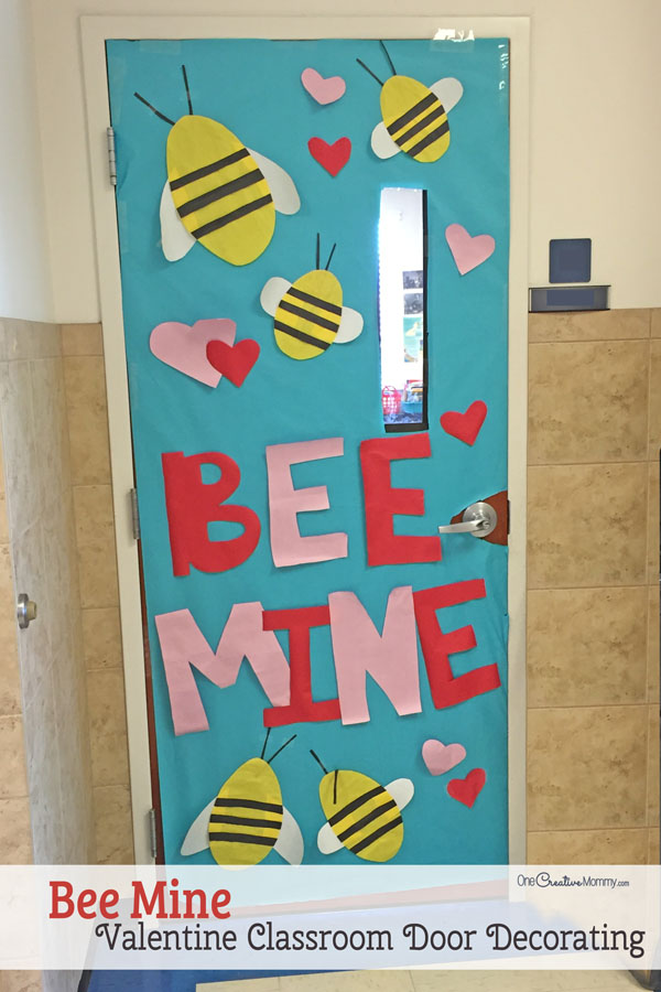 Bee Mine - Featured in 27 Valentine's Day Classroom Door Decorating Ideas {OneCreativeMommy.com}