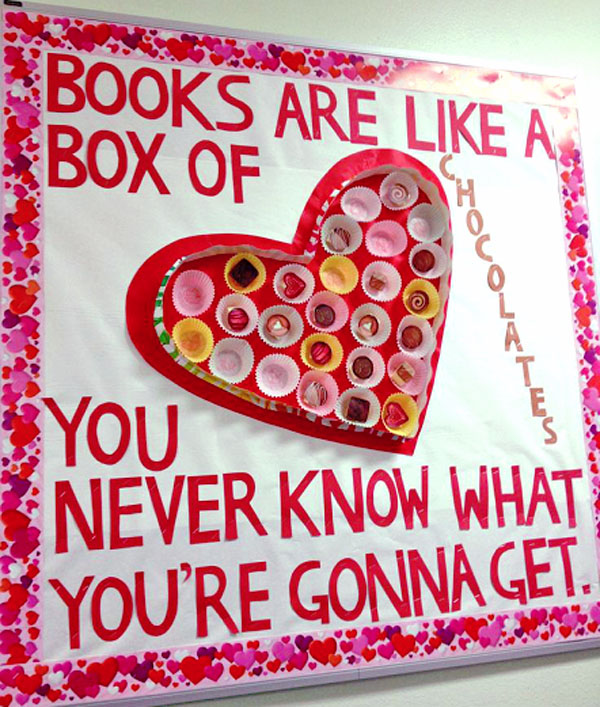 Library Book Bulletin Board - Featured in 27 Valentine's Day Classroom Door Decorating Ideas {OneCreativeMommy.com}