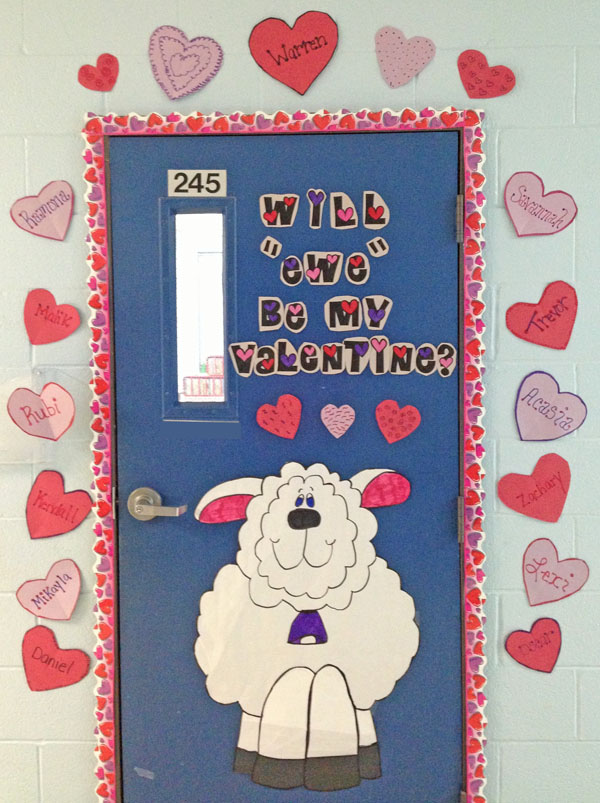 Will Ewe Be My Valentine? Featured in 27 Valentine's Day Classroom Door Decorating Ideas {OneCreativeMommy.com}