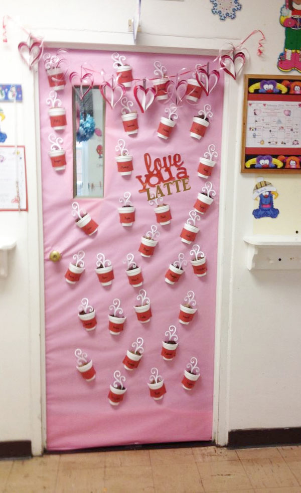 Love You Latte - Featured in 27 Valentine's Day Classroom Door Decorating Ideas {OneCreativeMommy.com}