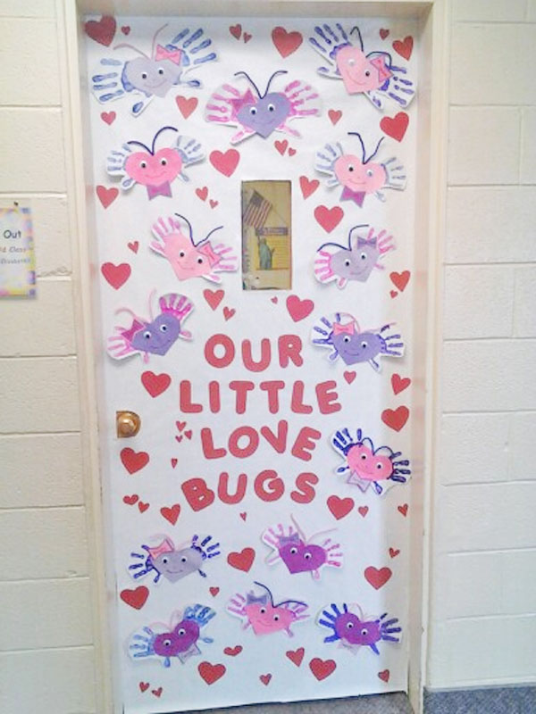 Love Bugs Classroom Door - Featured in 27 Valentine's Day Classroom Door Decorating Ideas {OneCreativeMommy.com}