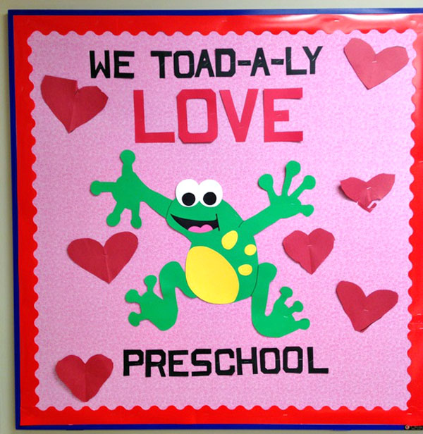 We Toadally Love Preschool Bulletin Board - Featured in 27 Valentine's Day Classroom Door Decorating Ideas {OneCreativeMommy.com}
