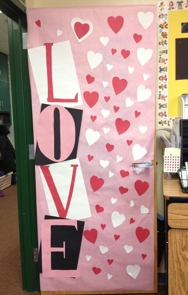 Love Theme Classroom Door - Featured in 27 Valentine's Day Classroom Door Decorating Ideas {OneCreativeMommy.com}