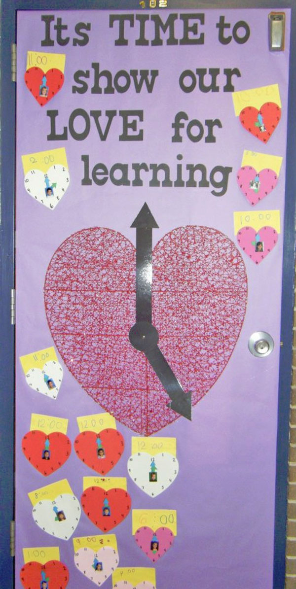 Time for Learning Classroom Door - Featured in 27 Valentine's Day Classroom Door Decorating Ideas {OneCreativeMommy.com}