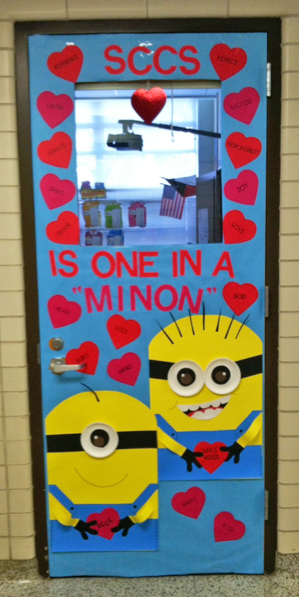 One in a Minion Classroom Door - Featured in 27 Valentineu0027s Day Classroom Door Decorating Ideas  sc 1 st  OneCreativeMommy.com & 27 Creative Classroom Door Decorations for Valentineu0027s Day ...