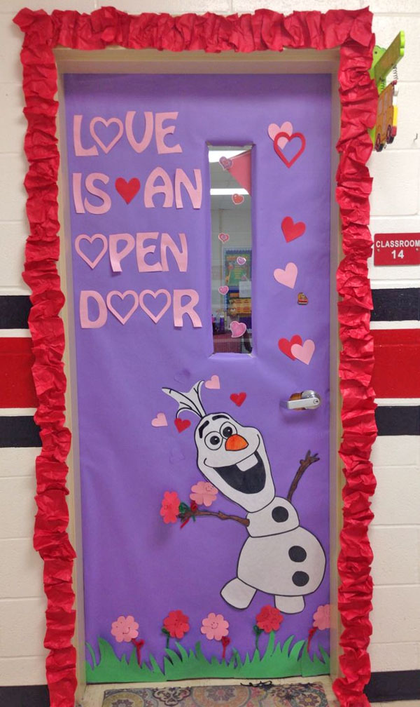 Love is an Open Door Olaf theme - Featured in 27 Valentine's Day Classroom Door Decorating Ideas {OneCreativeMommy.com}