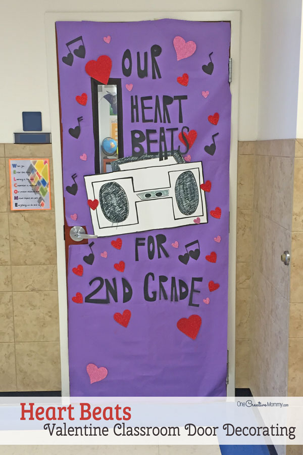 Our Heart Beats for You Classroom Door - Featured in 27 Valentine's Day Classroom Door Decorating Ideas {OneCreativeMommy.com}