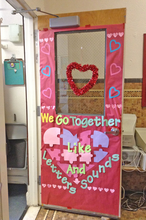 Classroom Door Perfect for Speech Teacher - Featured in 27 Valentine's Day Classroom Door Decorating Ideas {OneCreativeMommy.com}