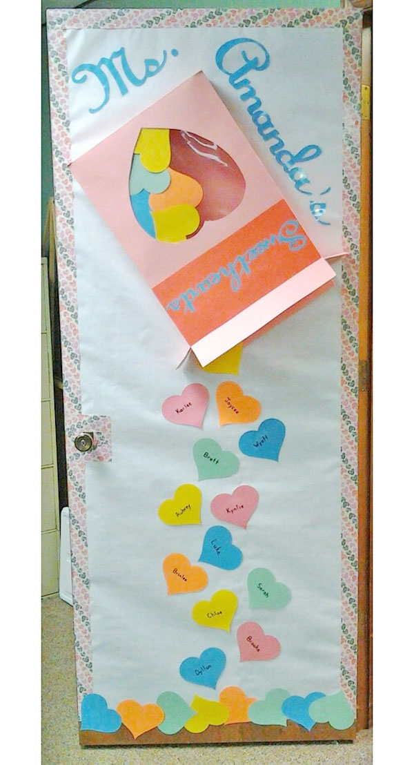 SweetHearts Candy Classroom Door - Featured in 27 Valentine's Day Classroom Door Decorating Ideas {OneCreativeMommy.com}