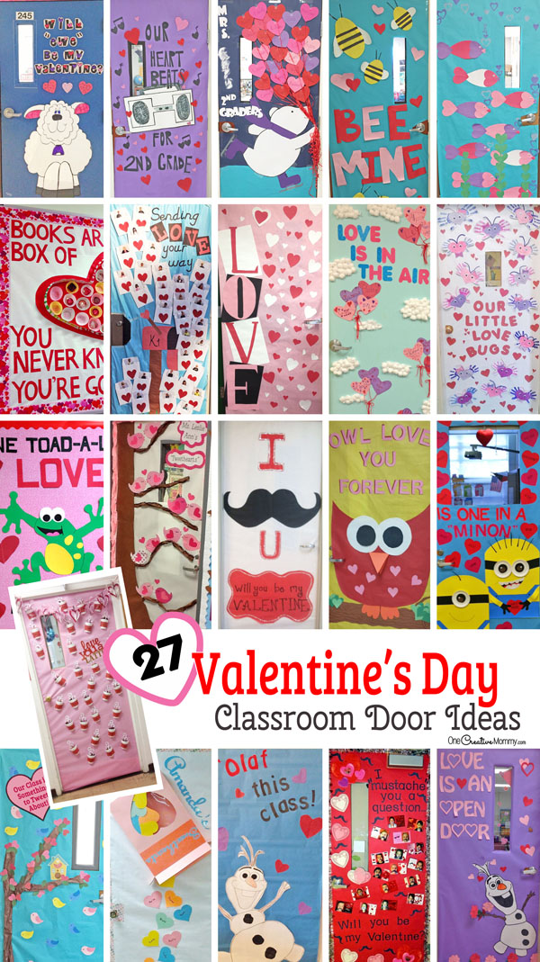 27 Creative Valentine's Day Classroom Door Decorations {OneCreativeMommy.com} I can't decide which idea to use! #valentinesday #classroomdoorideas #doordecorations #roommom #valentinedoorideas