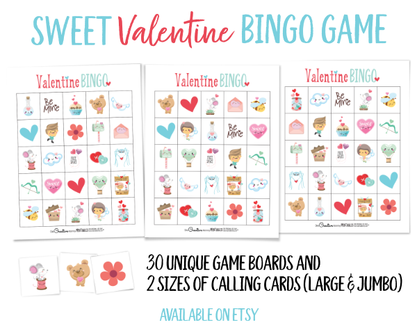 I can't wait to use this adorable Valentine's Day bingo game for the class party! The kids are going to love it! {OneCreativeMommy.com} #valentinesday #bingo #classparty #valentinesdaypartyideas