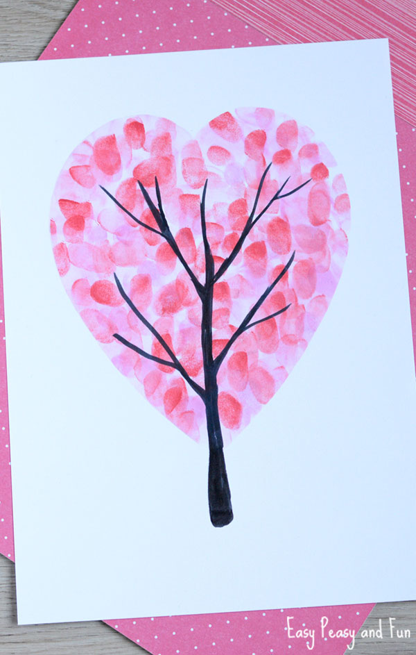 Valentine's Day Fingerprint Tree from Easy Peasy and Fun Featured on 25 amazing Valentine craft ideas to try right now! {OneCreativeMommy.com}