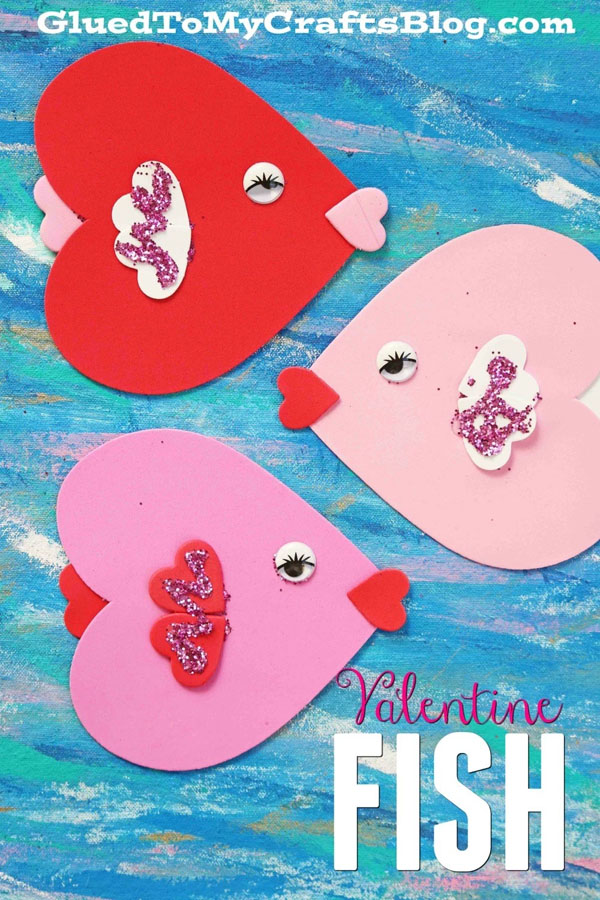 Craft Foam Valentine Fish Craft from Glued to My Crafts Featured on 25 amazing Valentine craft ideas to try right now! {OneCreativeMommy.com}