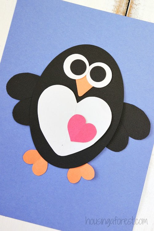 Heart Penguin Craft for Kids from Housing a Forest Featured on 25 amazing Valentine craft ideas to try right now! {OneCreativeMommy.com}