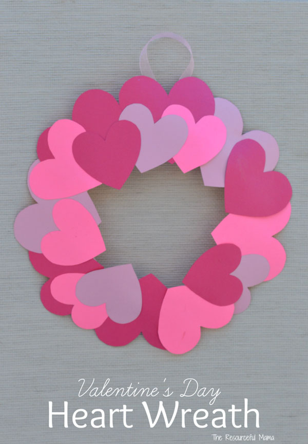 Paper Plate Valentine's Day Heart Wreath from the Resourceful Mama Featured on 25 amazing Valentine craft ideas to try right now! {OneCreativeMommy.com}