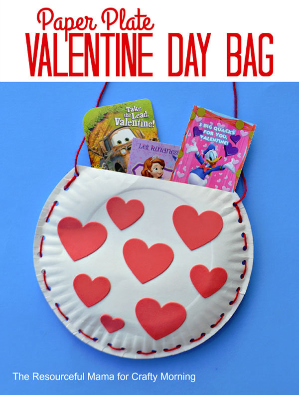 Paper Plate Valentine Day Bag by The Resourceful Mama Featured on 25 amazing Valentine craft ideas to try right now! {OneCreativeMommy.com}