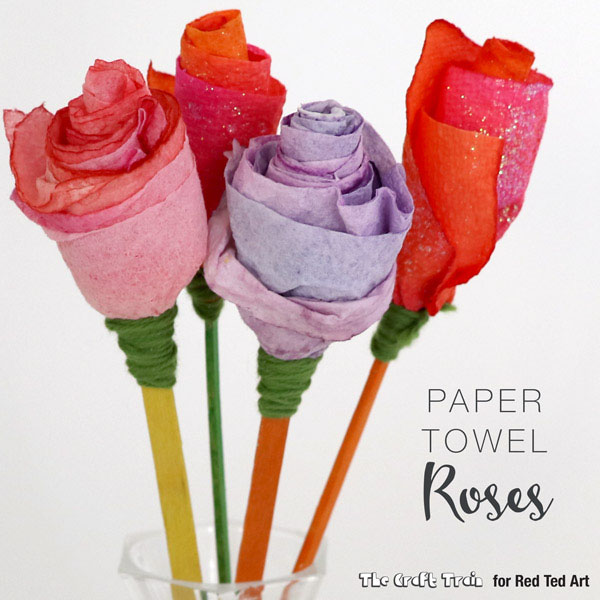 Paper Towel Roses from The Craft Train on Red Ted Art Featured on 25 amazing Valentine craft ideas to try right now! {OneCreativeMommy.com}