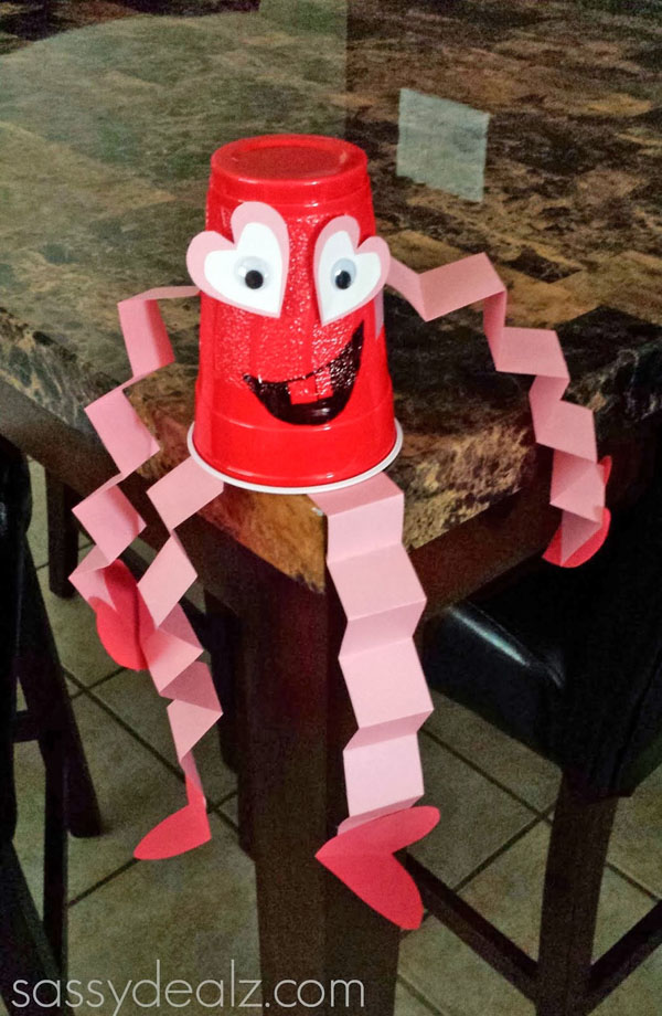 Red Solo Cup Valentine's Day Craft for Kids {Heart Man} from Crafty Morning Featured on 25 amazing Valentine craft ideas to try right now! {OneCreativeMommy.com}