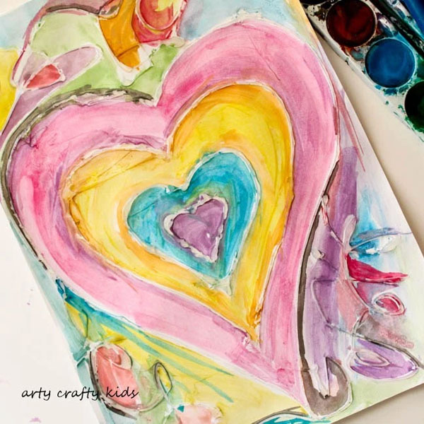 Watercolor and Glue Resist Heart Painting from Arty Crafty Kids Featured on 25 amazing Valentine craft ideas to try right now! {OneCreativeMommy.com}