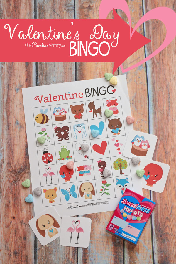 This printable Valentine's Day Bingo game is the cutest! I can't wait to play it with my kids. {OneCreativeMommy.com} Class Party Set and Family Set