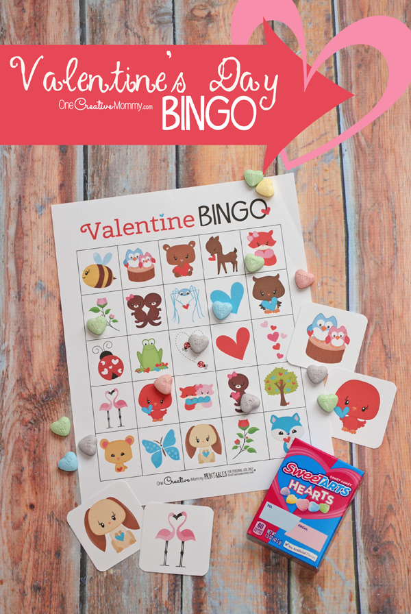 This printable Valentine's Day Bingo game is the cutest! I can't wait to play it with my kids. {OneCreativeMommy.com} Class Party Set and Family Set #valentinesday #valentinesdaygames #valentinesdaypartyideas #bingo #printable