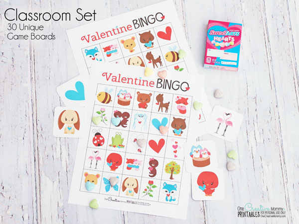 This printable Valentine's Day Bingo game is the cutest! I can't wait to play it with my kids. {OneCreativeMommy.com} Class Party Set available on Etsy