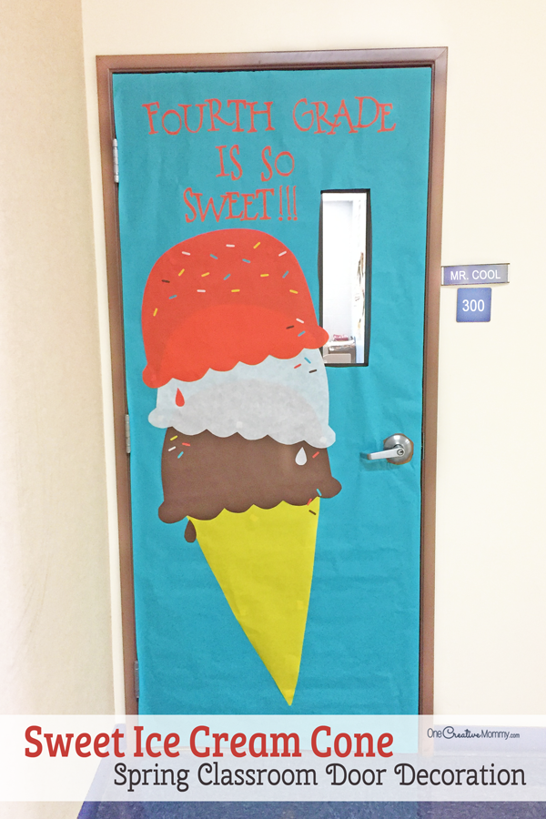 Make this easy and sweet ice cream cone to decorate your classroom for Spring!  & Easy Classroom Door Idea for Spring - onecreativemommy.com
