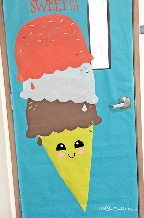 Make this easy and sweet ice cream cone to decorate your classroom for Spring!  : decorate door - pezcame.com