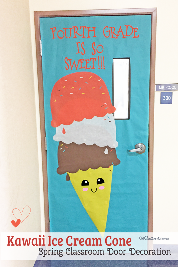 Make this easy and sweet ice cream cone to decorate your classroom for Spring!   sc 1 st  OneCreativeMommy.com & Easy Classroom Door Idea for Spring - onecreativemommy.com