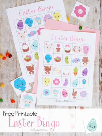The cutest Easter Bingo game! 10 free printable game boards {OneCreativeMommy.com} Easter activities for kids