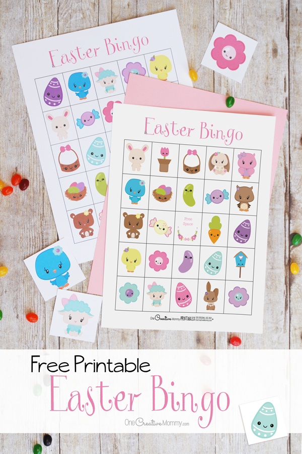 The cutest Easter Bingo game! Free printable game boards {OneCreativeMommy.com} Easter activities for kids #easter #bingo #printable #eastercrafts #kidsactivites